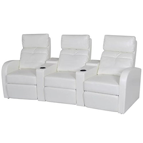 vidaXL White Artificial Leather 3-Seat Home Theater Recliner Sofa Lounge w/Cup Holder