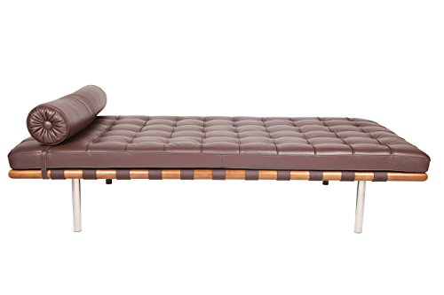 Pavilion Barelona Modern Daybed / Mies Couch, Top Grain Premium Leather with Light Walnut Frame (Dark Brown Aniline Leather)