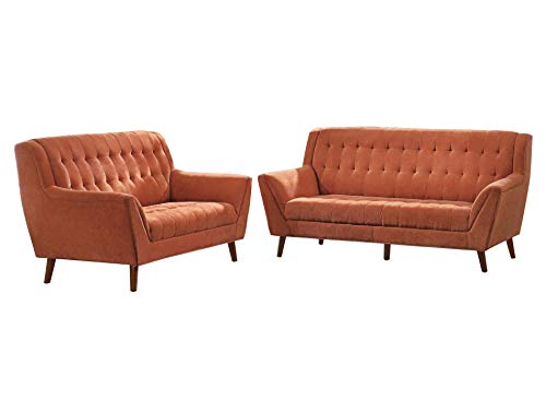Essex 2PC Sofa & Love Seat in Orange Fabric
