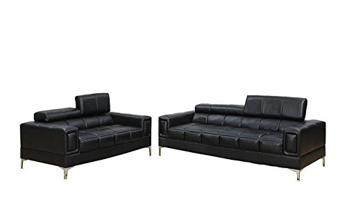 2Pcs Modern Eclectic Style Black Bonded Leather Sofa and Loveseat Set for Living Room