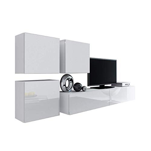 Domadeco Vilado 23 wall mounted tv units modern unique furniture for living room Color (White & White)