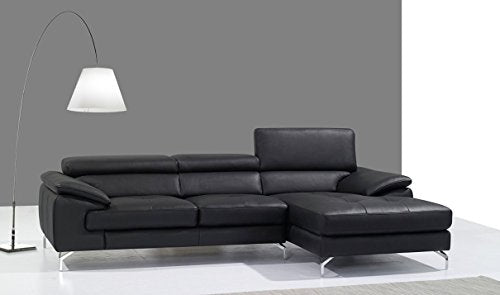 A973B Premium Leather Mini Right Hand Facing Sectional Sofa in Black