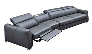 312 Leather Left Hand Facing Sectional Sofa in Dark Grey