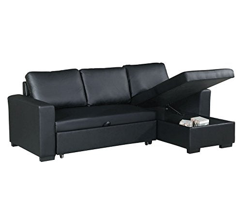 Advanced Modern Black Faux Leather Convertible Sectional Sofa Set with Pull-Out Bed