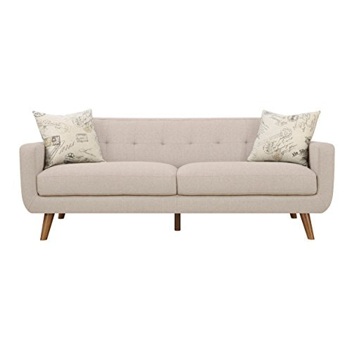 Emerald Home Remix Beige Sofa, with Pillows, Button Tufted Back, Telescoped Wood Legs, And Track Arm
