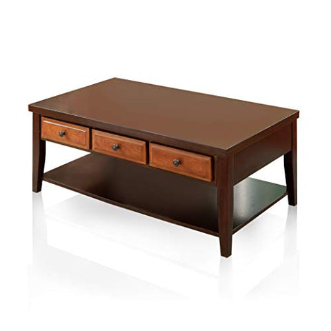 247SHOPATHOME IDF-4052C Albion Coffee Table, Oak/Dark Cherry