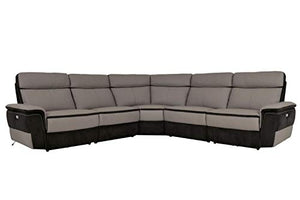Liberman 5PC Power Sectional w Power Armless Chair - Top Grain Leather & Fabric - Grey - ConfigF