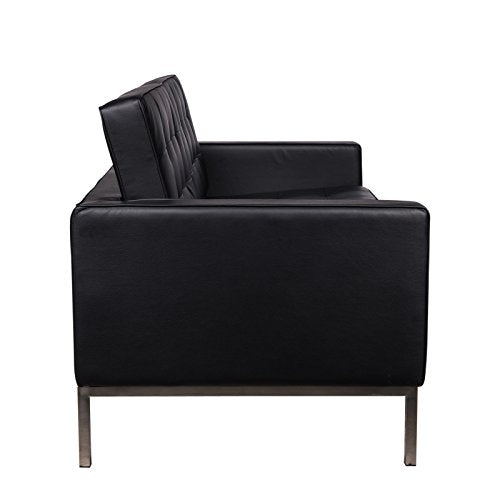LeisureMod Lorane Mid-Century Tufted Upholstered Loveseat, Black Leather