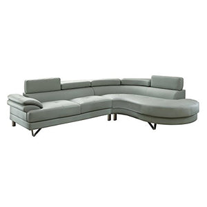 Benzara BM166749 Faux Leather 2 Piece Sectional in Gray