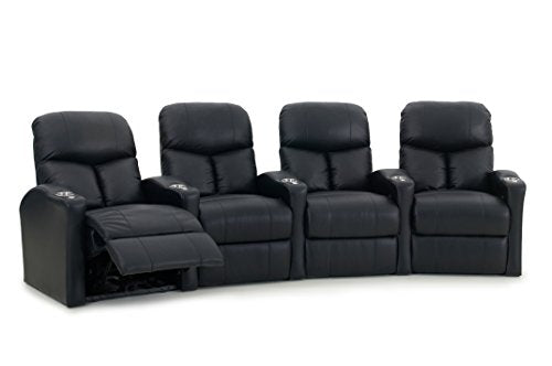 Octane Bolt XS400 Row of 4 Seats, Curved Row in Black Leather with Power Recline