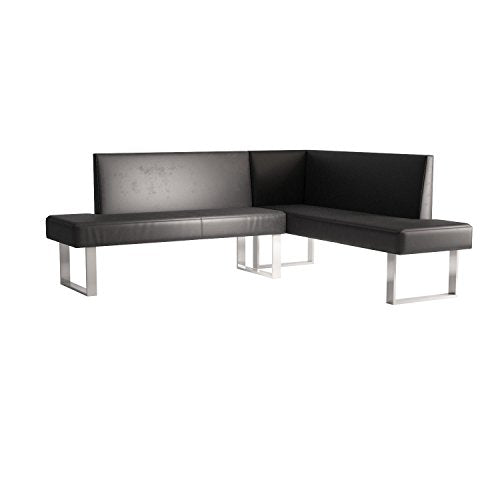 Armen Living LCAMCOBLSF Amanda Sectional in Black and Chrome Finish