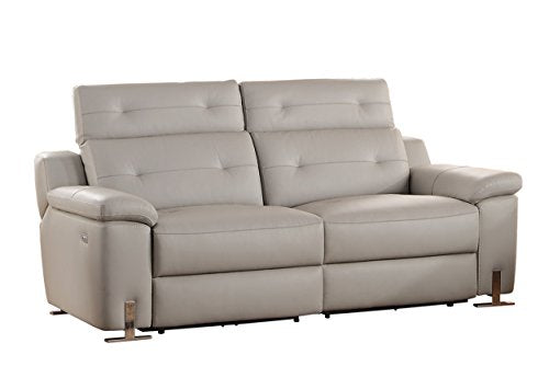 Homelegance Vortex Modern Design Power Double Reclining Sofa Top Grain Genuine Leather Match with Adjustable Headrest, Grey