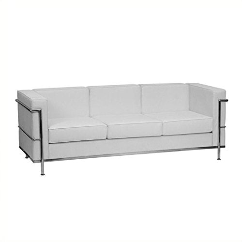 Flash Furniture HERCULES Regal Series Contemporary Melrose White Leather Sofa with Encasing Frame