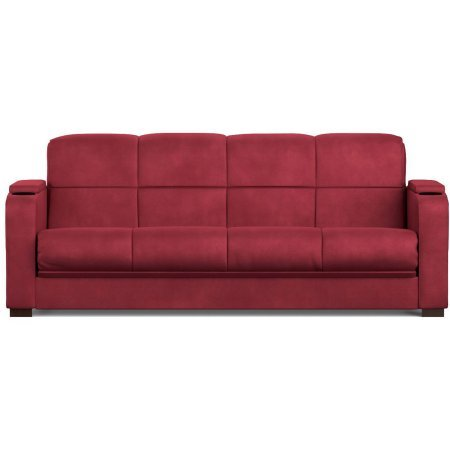 Tyler Microfiber Storage Arm Convert-a-Couch Sofa Sleeper Bed | Cushion Accommodates Full Size Sheets for Sleeping (Red)