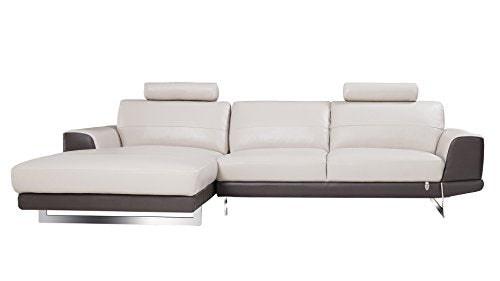 "American Eagle Furniture EK-L062R-LG.TPE Austin Modern Italian Leather Left Facing Sectional, 114"", Gray/Taupe"