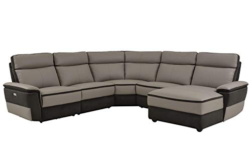 Liberman 5PC Power Sectional w Non Power Armless Recliner - Top Grain Leather & Fabric - Grey - ConfigB