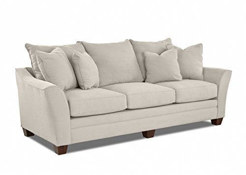 "Klaussner Home Furnishings Paxton Sofa with 4 Throw Pillows, 44""L x 99""W x 31""H, Sand"