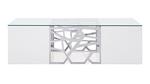 Zuri Furniture Modern Liera Coffee Table in White High Gloss Lacquer with Clear Glass and Stainless Steel