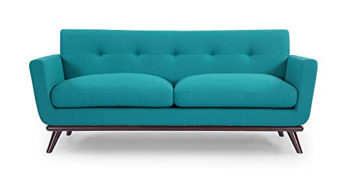 Kardiel Jackie Mid-Century Modern Classic Loveseat, Turquoise Bouclé Cashmere Wool