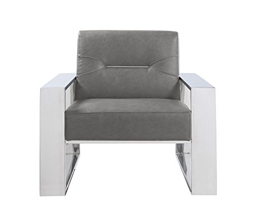 Iconic Home Nicholas Modern Contemporary Sculptural Polished Nickel - Finished Stainless Steel Leatherette Accent Chair, Gray
