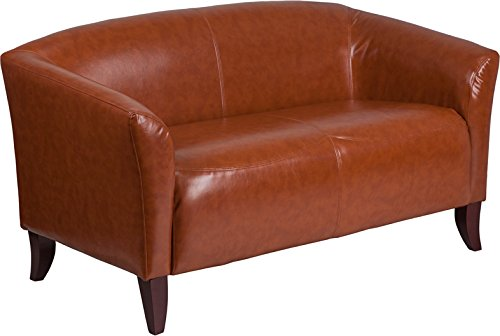Emma + Oliver Cognac Leather Loveseat with Cherry Wood Feet