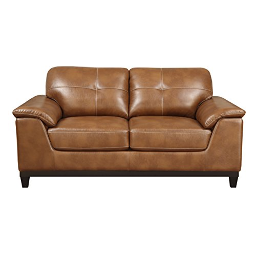 Emerald Home Marquis Chestnut Loveseat with Faux Leather Upholstery, Padded Arms, And Contrast Stitching