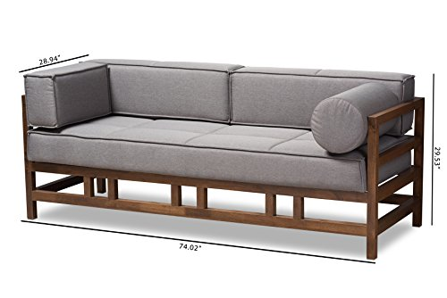 Baxton Studio Gavina Mid-Century Modern Grey Fabric Upholstered Walnut Wood 3-Seater Sofa