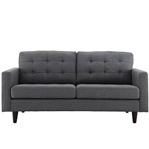 Modway Empress Mid-Century Modern Upholstered Fabric Loveseat In Gray