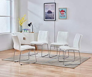 Enjowarm Dining Chairs Modern White Faux Leather Metal Waiting Room Chairs Side Kitchen Dining Room Chair Armless Upholstered Ergonomic Office Chairs (Set of 4)