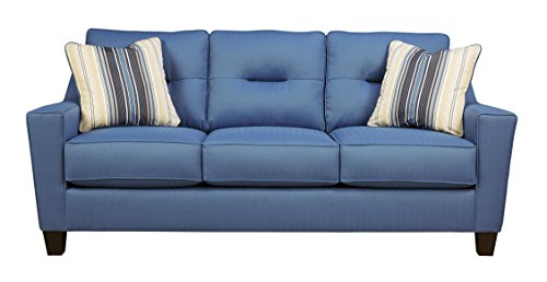 Benchcraft - Forsan Nuvella Contemporary Sofa Sleeper - Queen Size Mattress Included - Blue