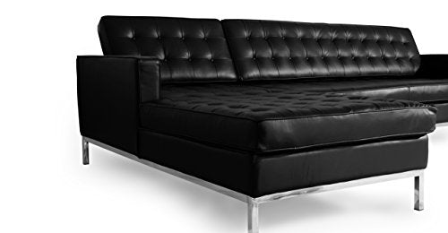 Kardiel Florence 100% Full Premium Knoll Style Left Sectional Sofa, Black Leather