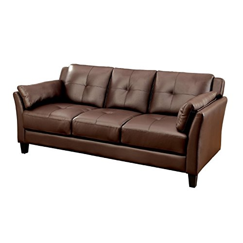 Furniture of America Tonia Tufted Faux Leather Sofa in Brown