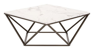 Zuo Tintern Coffee Table, Stone & Antique Brass