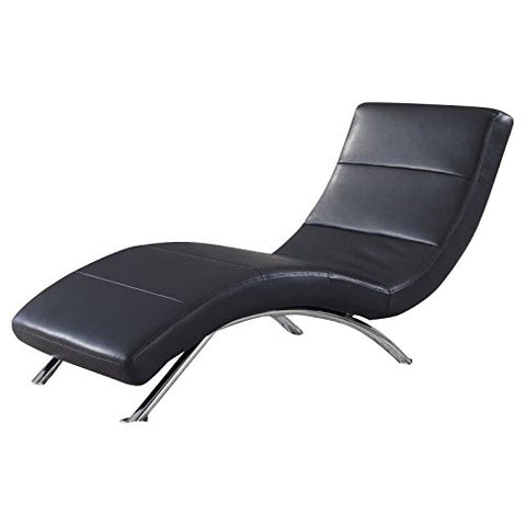 Atlin Designs Leather Chaise in Black with Chrome Legs