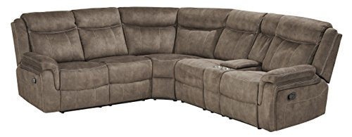 Addisen Transitional Taupe Color Fabric Sectional Sofa