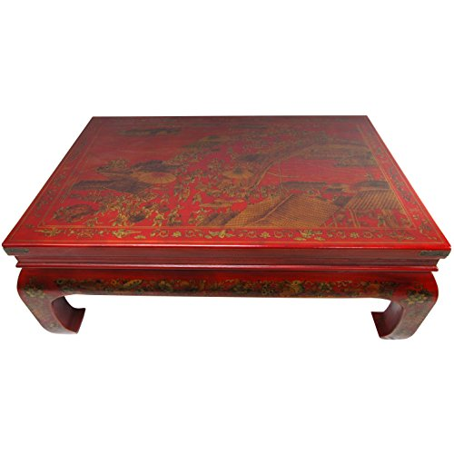ORIENTAL FURNITURE Red Lacquer Peaceful Village Coffee Table