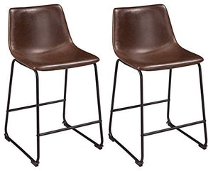 Signature Design By Ashley - Centiar Upholstered Barstool - Set of 2 - Casual Style - Two-tone Brown