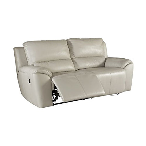 BOWERY HILL Power Reclining Leather Loveseat in Cream