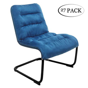 Case 27, Zenree Comfortable Padded Collapsible Armless Lounger Chair Peacock Blue Combed Poly Soft Cushion Living Room Dorm Bedroom Patio Teens Playroom