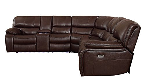 "Homelegance Pecos 117"" Power Reclining Sectional with LED, Brown"