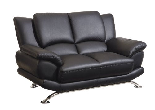 Global Furniture Rogers Collection Bonded Leather Matching Love , Black with Chrome Legs