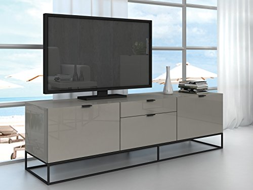 VIZZIONE High Gloss Light Gray Lacquer Entertainment Center by Casabianca Home CB-1411-TVG - VIZZIONE High Gloss Light Gray Lacquer Entertainment Center by Casabianca Home