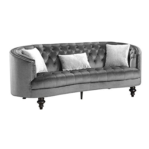 HOMES: Inside + Out IDF-6145GY-SF Fraya Glam Flannelette Sofa, Dark Gray