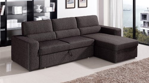 Zuri Furniture Black/Brown Clubber Sleeper Sectional Sofa - Right Chaise