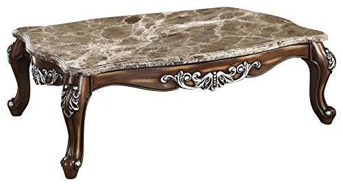 "Meridian Furniture 203-C Sandro Solid Wood Coffee Table with Traditional Handcrafted Designs and Genuine Marble Top, 57"" L x 35"" D x 19.5"" H, Light Cherry Finish"