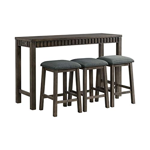 BOWERY HILL Montego Multipurpose Home Bar Living Room Sofa Table Set with 3 Upholstered Stools in Dark Walnut and Gray Fabric