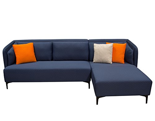 2-Pc Sectional Sofa Set in Navy Blue