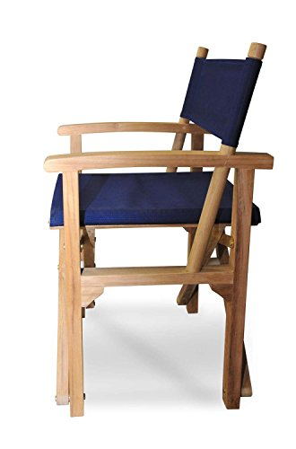 Eco-Friendly Furnishings Set of 2 Natural Teak Directors Chairs with Navy Blue Colored Sunbrella Fabric 35""