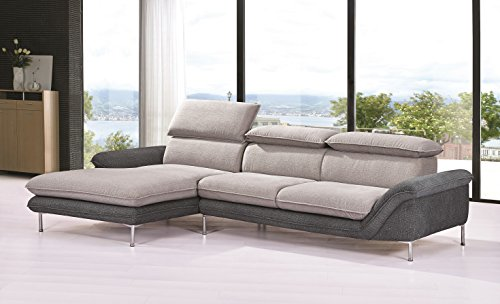 "Container Furniture Direct S0109L-2PC Alyssa Flocking Linen Upholstered Right-Sided Sectional Sofa Chaise,115"", Brown"