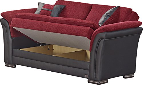 BEYAN Austin Collection Upholstered Chenille Loveseat with Solid Wood Frame, Vinyl Arms, and Storage, Red